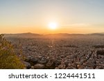 sunset over athens city  greece.... | Shutterstock . vector #1224441511