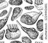 raw meat seamless pattern.... | Shutterstock . vector #1224442681
