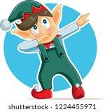 funny dabbing christmas elf... | Shutterstock .eps vector #1224455971