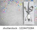 birthday table setting... | Shutterstock . vector #1224473284