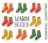 warm socks. set of pairs of... | Shutterstock .eps vector #1224477634