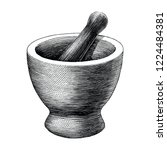 mortar and pestle vintage... | Shutterstock .eps vector #1224484381