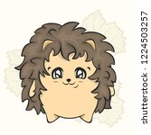 cartoon cute hedgehog vector... | Shutterstock .eps vector #1224503257