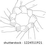 group of hands joining together | Shutterstock .eps vector #1224511921
