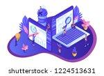 isometric design seo analytics. ... | Shutterstock .eps vector #1224513631