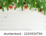 green fir tree branches with... | Shutterstock . vector #1224524734