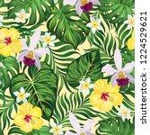 tropical vector seamless... | Shutterstock .eps vector #1224529621