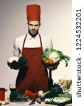 chef in burgundy uniform holds... | Shutterstock . vector #1224532201