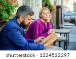 man and woman sit cafe terrace. ... | Shutterstock . vector #1224532297
