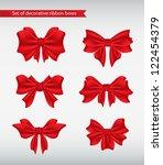 set of decorative ribbon bows... | Shutterstock .eps vector #122454379