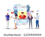 people watching webinar  video  ... | Shutterstock .eps vector #1224544444