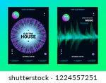 techno music poster. wave flyer ... | Shutterstock .eps vector #1224557251