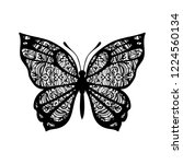 butterfly with patterned wings. ... | Shutterstock .eps vector #1224560134