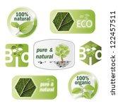 set of bio  eco  organic... | Shutterstock . vector #122457511