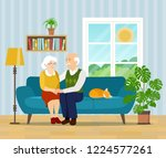 grandmother  grandfather and... | Shutterstock .eps vector #1224577261