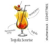 tequila sunrise cocktail recipe ... | Shutterstock .eps vector #1224577801