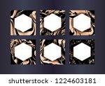 set of vector rose gold... | Shutterstock .eps vector #1224603181