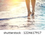 close up leg of young woman... | Shutterstock . vector #1224617917