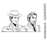 pop art retro men in black and... | Shutterstock .eps vector #1224635257