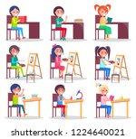 children prepare homework ...   Shutterstock . vector #1224640021