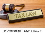 a gavel and a name plate with... | Shutterstock . vector #1224646174