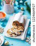 christmas stollen cake with... | Shutterstock . vector #1224664927