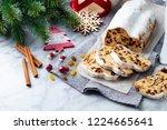 christmas stollen cake with... | Shutterstock . vector #1224665641