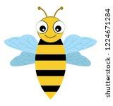 a flying cute face bee... | Shutterstock .eps vector #1224671284