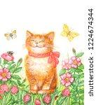 watercolor drawing funny kitten ... | Shutterstock . vector #1224674344