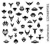 pixel alien spaceships  a set...   Shutterstock . vector #1224689581