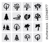 vector black trees icon set on... | Shutterstock .eps vector #122468977