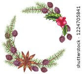 watercolor wreath with cinnamon ... | Shutterstock . vector #1224705841