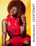 portrait of a beautiful black...   Shutterstock . vector #1224729697
