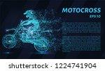 motocross of blue glowing dots. ... | Shutterstock .eps vector #1224741904