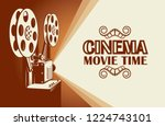 cinema poster with retro film... | Shutterstock .eps vector #1224743101