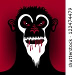 angry monkey face - stock vector