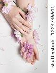 closeup of woman fingers... | Shutterstock . vector #1224746641