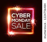 cyber monday shopping banner in ... | Shutterstock .eps vector #1224756484