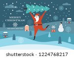 santa claus carry big christmas ... | Shutterstock .eps vector #1224768217