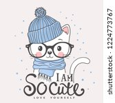 cute cat face with knitted cap  ... | Shutterstock .eps vector #1224773767