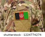 afghanistan flag on soldiers... | Shutterstock . vector #1224774274