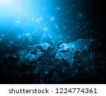 world map on a technological...   Shutterstock . vector #1224774361