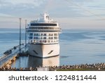 cruise liner in port and berth | Shutterstock . vector #1224811444