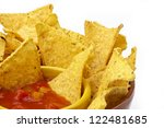 tortilla chips and sauce | Shutterstock . vector #122481685