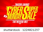 cyber monday super sale  vector ... | Shutterstock .eps vector #1224821257