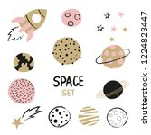 set of hand drawn space element ... | Shutterstock .eps vector #1224823447