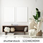 mock up poster frame in modern... | Shutterstock . vector #1224824044