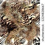 Stock photo mix animal skin prints leopard and zebra seamless pattern 1224828667