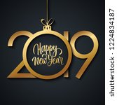 2019 happy new year greeting... | Shutterstock .eps vector #1224834187
