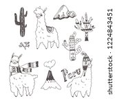 vector set of peru doodle... | Shutterstock .eps vector #1224843451